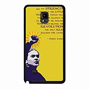 Frida Kahlo Samsung Galaxy Note 4 Funda, Plastic Black Cover, Unique Style Frida Kahlo Phone Funda