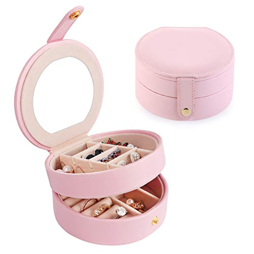 HUSTON LOWELL Travel Jewelry Organizer Box with Mirror PU Leather Multi-Layer Portable Jewelry Storage Case Accessories Organizer Display Box for Earring,Lipstick,Necklace,Bracelet,Rings (Light Pink)