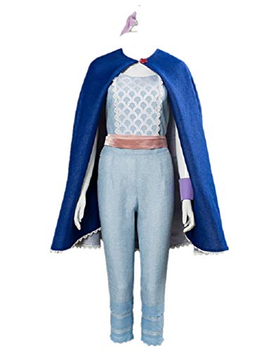 Womens Halloween Cosplay Costume Deluxe Full Set with Cape L Light Blue]()