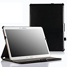 MoKo Samsung Galaxy Tab S 10.5 Case - Genuine Leather Slim-Fit Multi-angle Folio Cover Case for Samsung Galaxy Tab S 10.5 Inch Android Tablet, BLACK (With Smart Cover Auto Wake / Sleep)