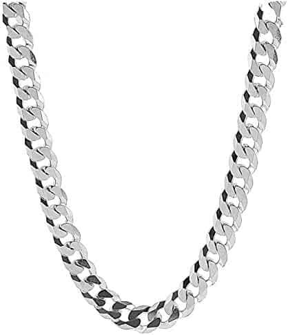 da4377499 Dubai Collections 9MM Curb Link White Gold Cuban Miami Link Chain Necklace  for Men Real 14K