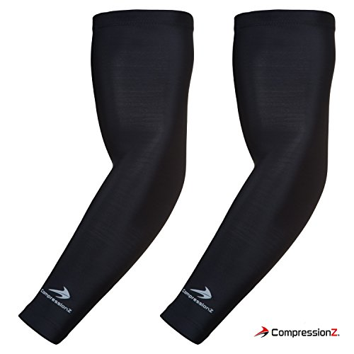 CompressionZ Arm Sleeve (Pair) - Sports Compression Sleeves for Baseball, Basketball, Football, Cycling, Golf - Elbow Brace for Arthritis, Lymphedema - UV Protection for Men/Women, Black, Large 12