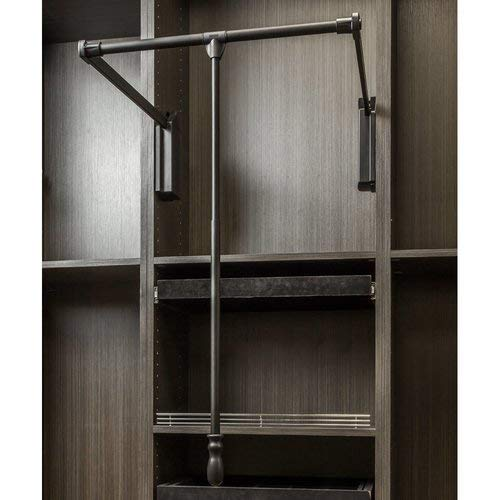 Hardware Resources 1532SC 32 Inch Wide Pull Down Closet Rod with Soft Close, Black