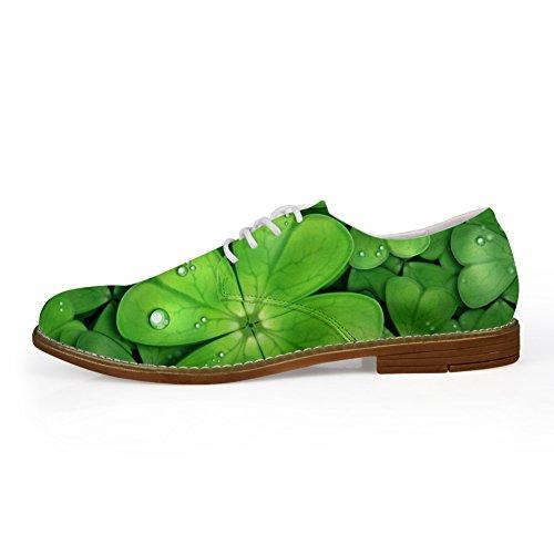 Knuffels Idee Groen Planten Patroon Heren Casual Oxford Flats Veterschoenen Blad 3