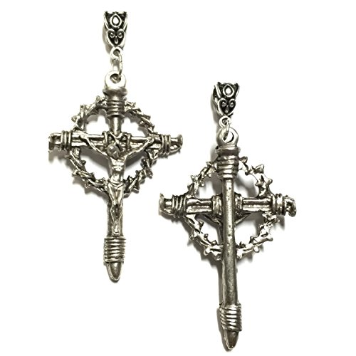 Crown of Thorns Crucifix Nail Cross Pendant Catholic Religious Made in Italy 2