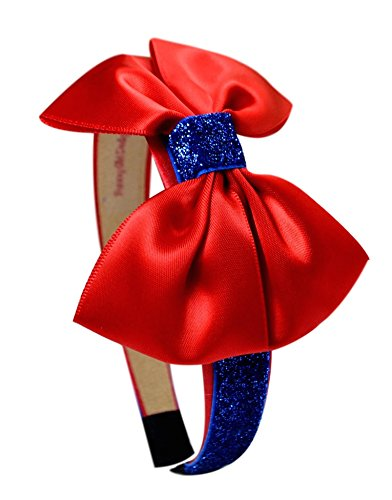 Snow White Inspired Sparkling Glitter Bow Headband (Red)