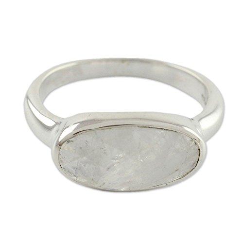 NOVICA Checkerboard Cut Rainbow Moonstone .925 Sterling Silver Ring 'Mist'