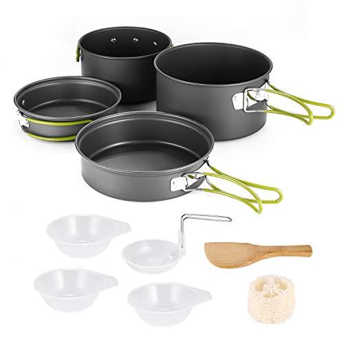 Outdoor Camping Juego de cocina, Mini ligero Aluminio - cacerolas y sartenes (para 2 - 3 personas, Portable portátil de equipo, antiadherente Cookware para ...