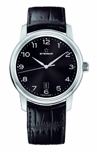 Eterna Watches Men's 'Soleure Automatic Big Date Stainless Steel and Leather Dress Watch, Color:Black (Model: 8310.41.44.1175)