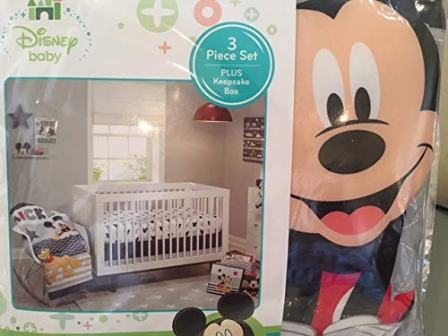 Let's Go Mickey 3-piece crib bedding set plus Keepsake box nojo