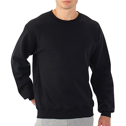 Fruit of the Loom Best Collection™ Men's Fleece Crew Large BLACK/CHARCOAL (Fruits Of The Loom Sweater)
