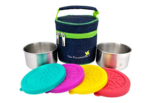 The Pinwheelers Stackable Duo | Mini Stainless Steel Containers w/Insulated Lunch Bag | Set of 2 with 100% Leakproof Silicone Lids | Reusable, EcoFriendly, Stackable, Portable (Blue Green Bag)