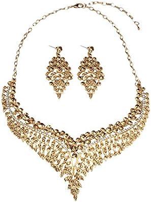 Nrpfell Conjuntos de Joyería Nupcial para Mujer Pendientes de Collar de Cristal Grande Conjuntos de Joyería de Boda ChampáN
