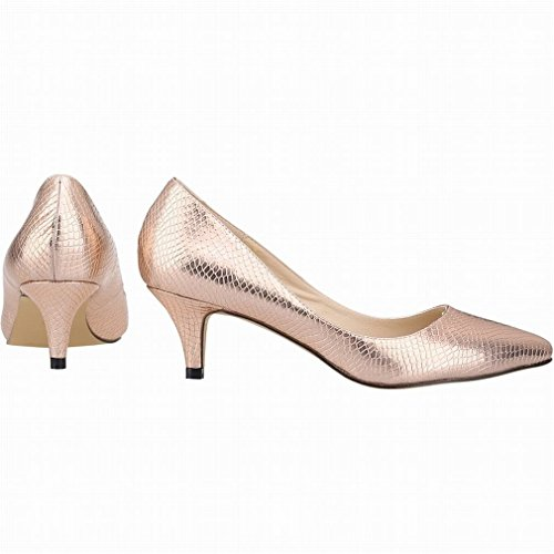 SAMSAY Ey Women's Slender Court Copper Pumps Shoes Pointed Toe Heels Kitten R6UCwBxqRA