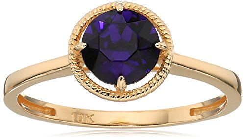 - 10k Gold Swarovski Crystal February Birthstone Ring, Size 7