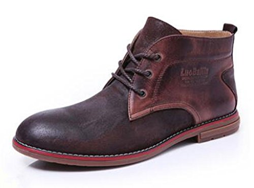 Casual Men Calfskin Leather Warm Lined Ankle Boots Lace up Round Toe Martin Boots Coffee