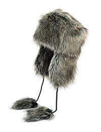 Futrzane Aviator Faux Fur Hat Cossack Russian Style Trapper Winter Women Hat Ushanka