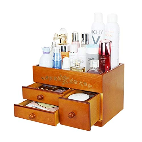 SHIJIAN Refine Bamboo Cosmetic Organizer, Multi-Function Storage Carousel for Your Vanity, Bathroom, Closet, Kitchen, Tabletop,countertop and Desk
