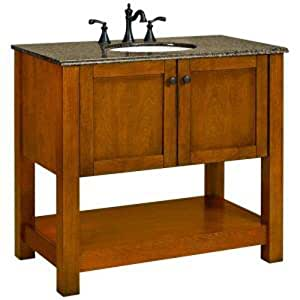 American Classics by RSI PPPLSBRC36Y Palisades 37-Inch Vanity in Bourbon Cherry with Granite Vanity Top, Beige with White Basin
