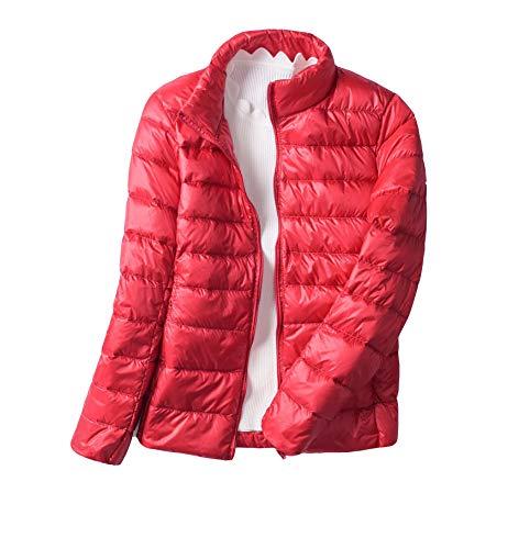 Slim Piumino Giacca Rosso Cappotto Trapuntato Donna Inverno Richiudibile Ultraleggeri Casual Giacche Fit Corto FIqSS4