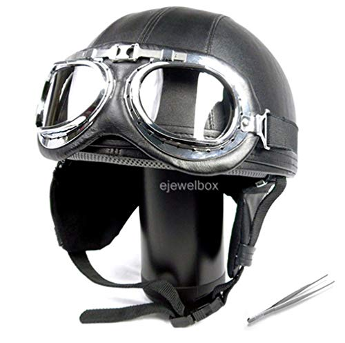 Vintage Motorcycle Motorbike Scooter Half Leather Helmet Black wlth Free Goggles and One Ganda Pincette Pince Tweezers ()
