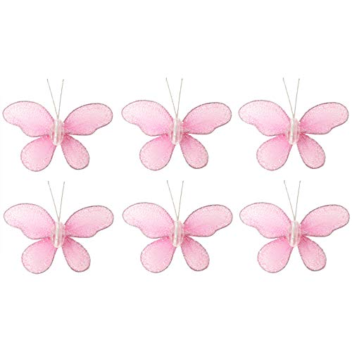 Butterfly Decor 2 Pink Mini X-Small Glitter Nylon Mesh Butterflies 6 Piece Decorations Set Decorate Baby Nursery Bedroom Girls Room Wall Wedding Birthday Party Shower Crafts Scrapbooks DIY
