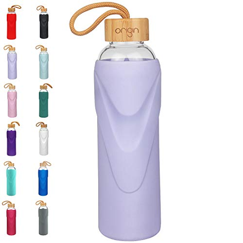 ORIGIN - Best BPA-Free Glass Water Bottle with Protective Silicone Sleeve and Bamboo Lid - Dishwasher Safe - 32 Ounce (Lavender)
