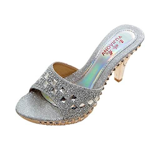 Women High Heels Fashion Breathable Sandals (Silver) - 1
