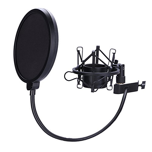 Microphone Shock Mount with 6 Inch Mic Round Shape Wind Pop Filter Mask Shield, Mic Anti-Vibration Suspension Shock Mount Holder Clip for Diameter 46mm-53mm Microphone ()