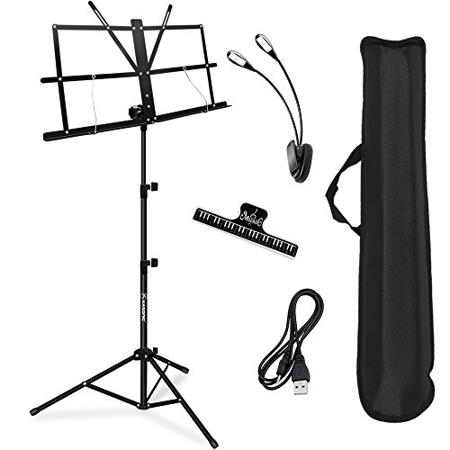Music Stand, Kasonic Professional Collapsible Music Stand Portable and Lightweight with LED light, Music Sheet Clip Holder and Carrying Bag Suitable for Instrumental Performance from Kasonic