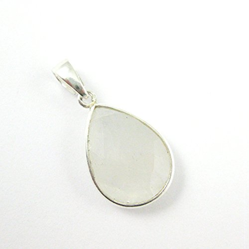 (Bezel Gem Pendant with Bail - Moonstone -Sterling Silver Teardrop Faceted Gemstone Pendant-29mm)