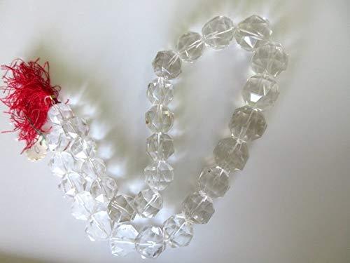 Super Quality Gemstone Beautiful Jewelry Natural Crystal Quartz Rose Cut Micro Faceted Rondelles Beads, Rock Quartz Crystal Beads 17mm To 20mm Beads, 10 Inch Code-JP-3939   B07KVVC9DQ