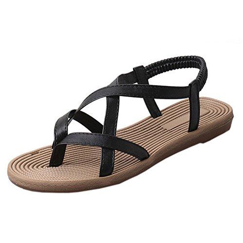 SKY Comfortable to wear it !!! Zapatos de mujer plana vendaje Bohemia ocio Peep-Toe Sandalias Zapatos al aire libre Negro