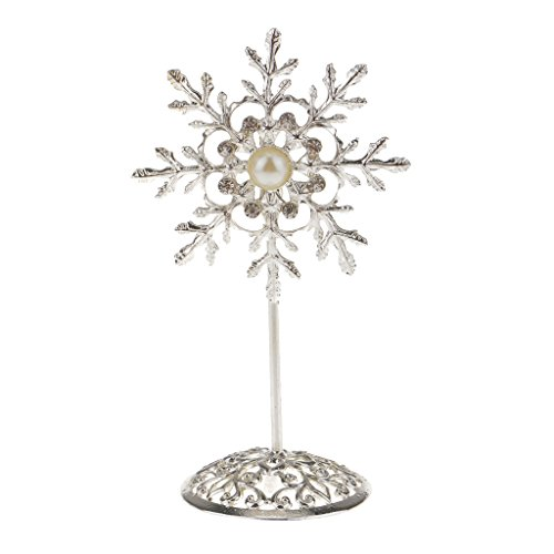 (MagiDeal Crystal Snowflake Table Number Holders Stands for Wedding Decorations)