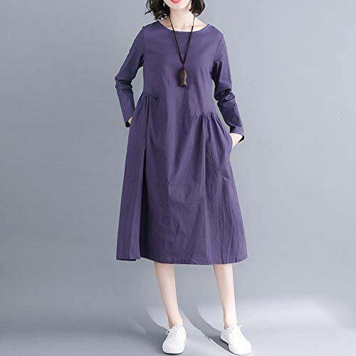 Vestido Manga Lino Mujer Largo para Vestido y Azul 2018 Color Mujer Suelto Tallas DOGZI Vestido Larga Bolsillo Algodón Playa sólido Mujer Grande AqwzvZ4x