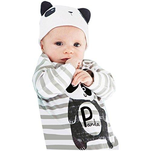FEITONG 1Set Newborn Infant Baby Boys Girls Romper+ Hat (12 Months, Gray)