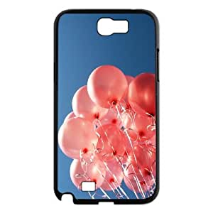 Dustin Balloon Samsung Galaxy Note 2 Case Kawaii Happy Balloon Bunch in Pure Blue Sky Ilike, Case for Samsung Galaxy Note2 [Black]