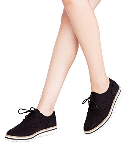 Lace Black OLIVIA Top Wedge K Platform Leatherette Reflective Oxford Upper Suede Women's Up Low Rounded Toe CSpW6qC