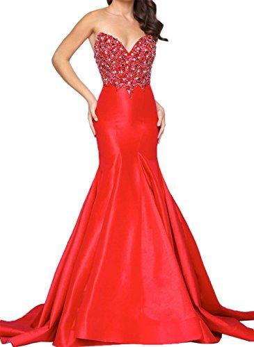 Promkleider langes Damen Steine Jugendweihe mit Perlen Schwarz Kleider Rot Abendkleider Meerjungfrau Charmant q6nxE0BS70