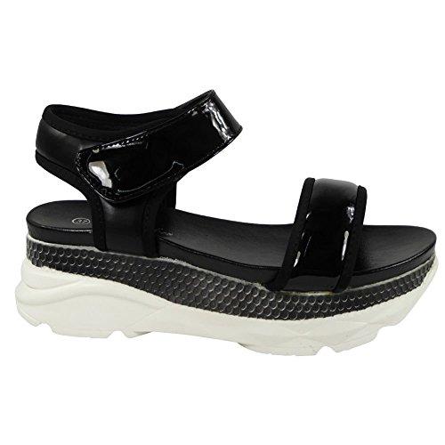 Womens Ladies Platform Velcro Glitter Comfy Mid Heel Wedge Shoes Sandals Size 3-8 Black KDvJ2