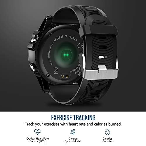 Zeblaze Vibe 3 PRO Smart Watch,Heart Rate IP67 Waterproof Bluetooth 4.0 Smartwatch Smart Sports Watch Tracker for Android and iOS(Black)