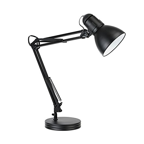 "globe electric 35"" heavy base architect spring balanced swing arm desk lamp, black finish, 5698601"