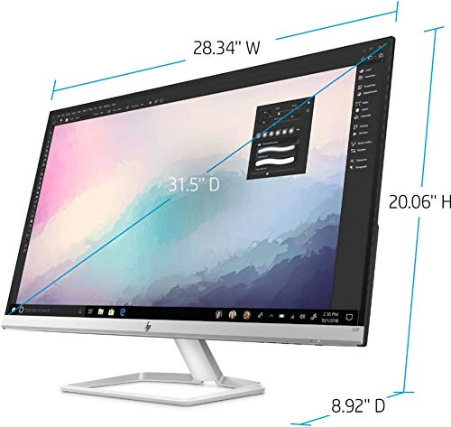 2021 El monitor LED IPS Full HD (1920 x 1080) HP de 31,5 más nuevo para empresas y estudiantes, antirreflejo, inclinación, HDMI, VGA, 60 Hz, 5 ms, relación de aspecto 16: 9, con accesorios Ghost Manta