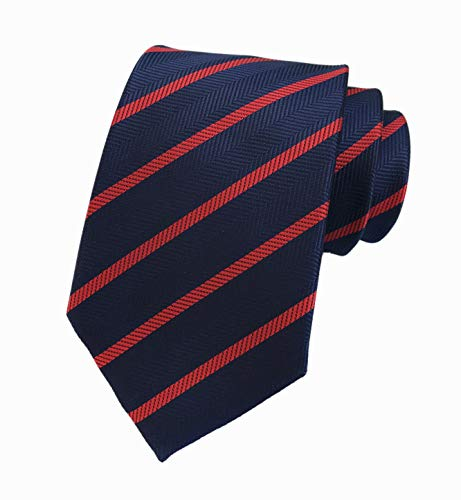 Blue Diagonal Stripes Necktie - Men Deep Navy Blue Red Silk Ties For Men Herringbone Stripe Repp Fitness Necktie