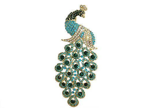 TTjewelry Vintage Peacock Bird Rhinestone Crystal Brooch Pin Art-deco Style Bird Pendant (Green) ()