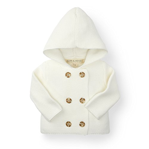 Hope & Henry Layette White Baby Sweater Made with Organic (Cotton Girls Sweater)