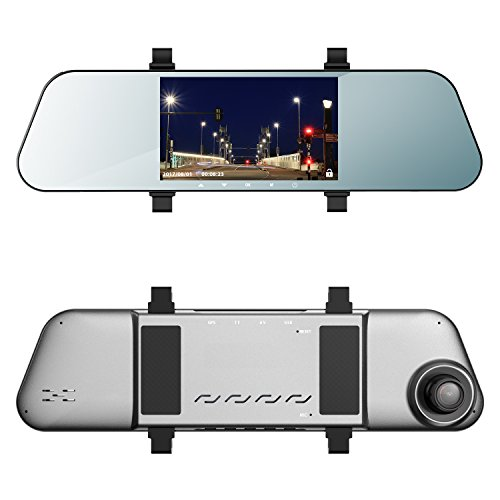 EHOOM Mirror Dash Cam A8, Front View HD Cam, 5'' IPS Touch Screen FHD 1080, 6-Lane 170° Wide-Angle View Lens, Car DVR with G-Sensor, Loop Recording, Parking Monitor, Al-alloyed Case, Super Night Vision by EHOOM