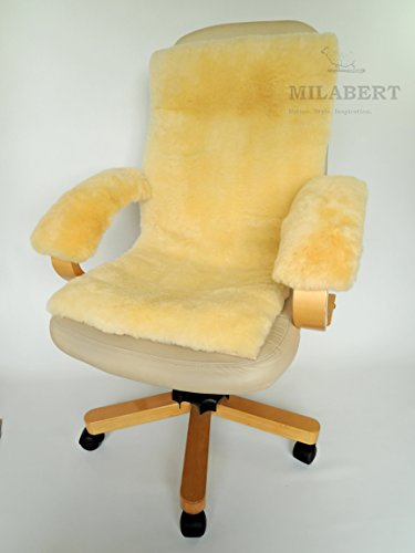 Genuine Medical Sheepskin Seat & Back Cushion & Armrest Pad Kit for Office Chair - Wheelchair - Premium Quality - Eco Product of European Union