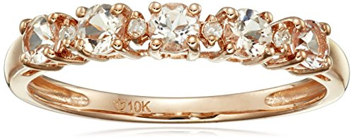 10k Rose Gold Morganite and Diamond Accented Stackable Ring, Size 7