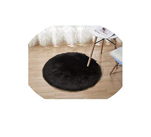 Washable Sheepskin Wool Carpet Chair Cover Bedroom Faux Mat Seat Pad,Black,Diameter 50cm